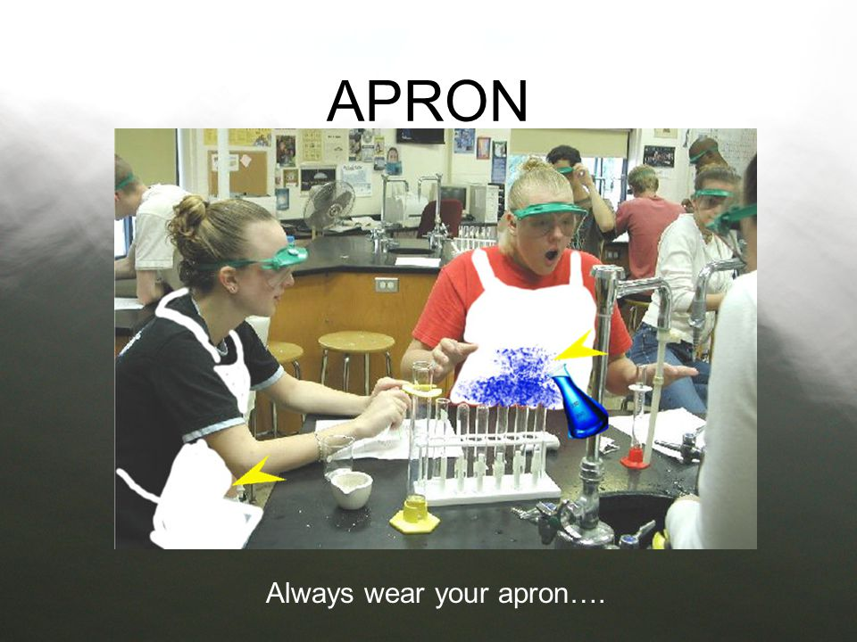 Before you start your lab also make sure that you are wearing an apron This will prevent harmful chemicals from spilling on your skin or ruining your