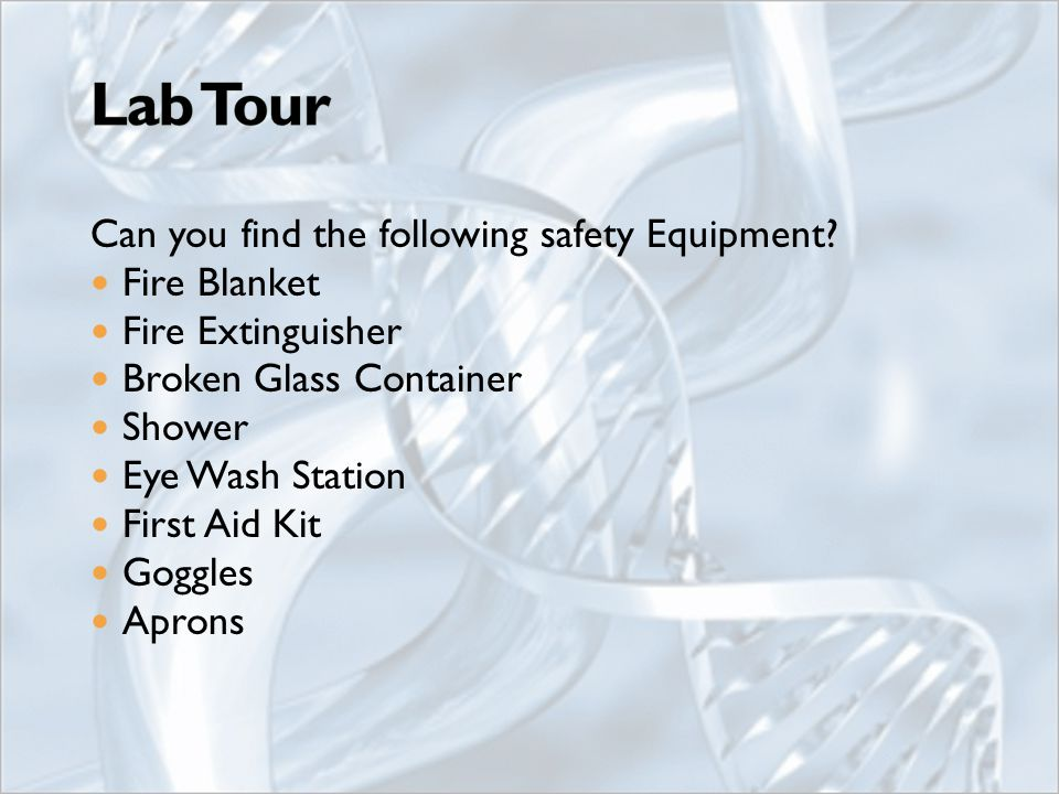 Can you find the following safety Equipment.