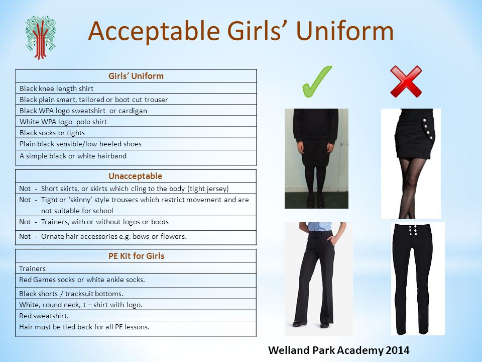 Acceptable Girls Uniform PE Kit for Girls Trainers Red Games socks or white ankle socks. Black shorts / tracksuit bottoms. White, round neck, t – shir