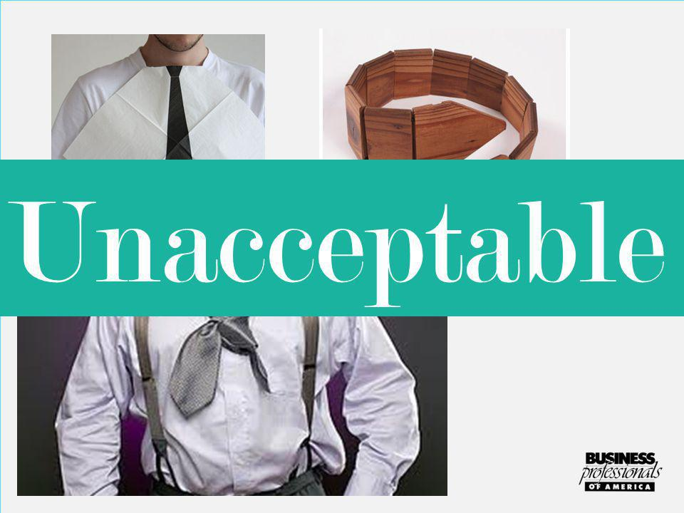 Neckwear must be fabric and tied correctly! Unacceptable