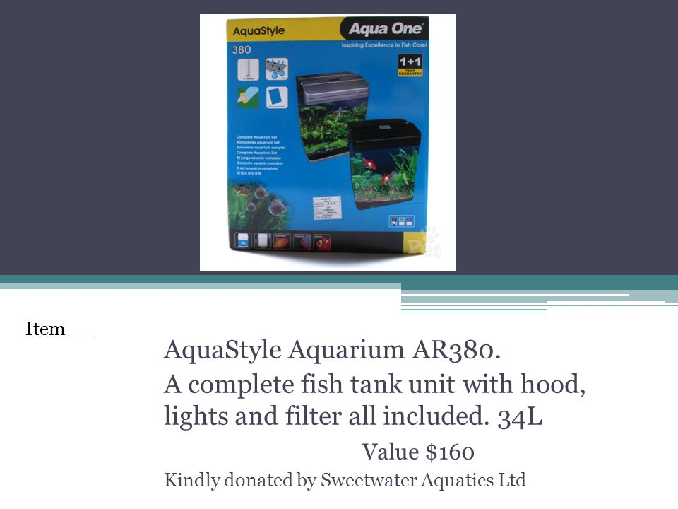 AquaStyle Aquarium AR380. A complete fish tank unit with hood, lights and filter all included. 34L Value $160 Kindly donated by Sweetwater Aquatics Lt