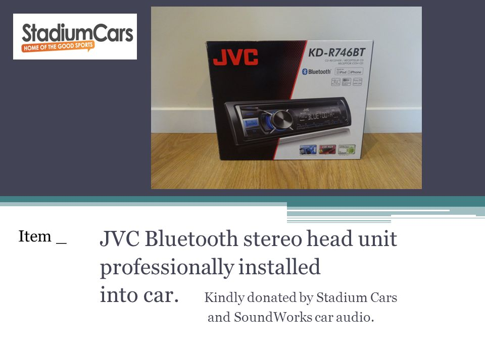JVC Bluetooth stereo head unit professionally installed into car. Kindly donated by Stadium Cars and SoundWorks car audio. Item _