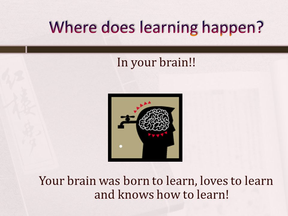 In your brain!! Your brain was born to learn, loves to learn and knows how to learn!
