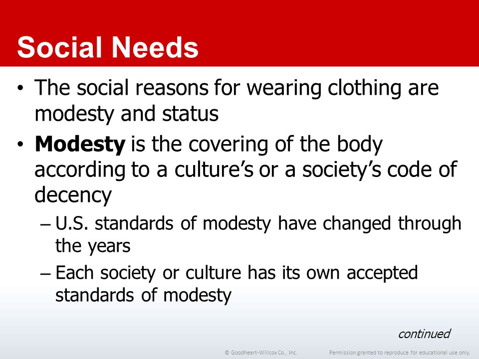 Permission granted to reproduce for educational use only.© Goodheart-Willcox Co., Inc. Social Needs The social reasons for wearing clothing are modest