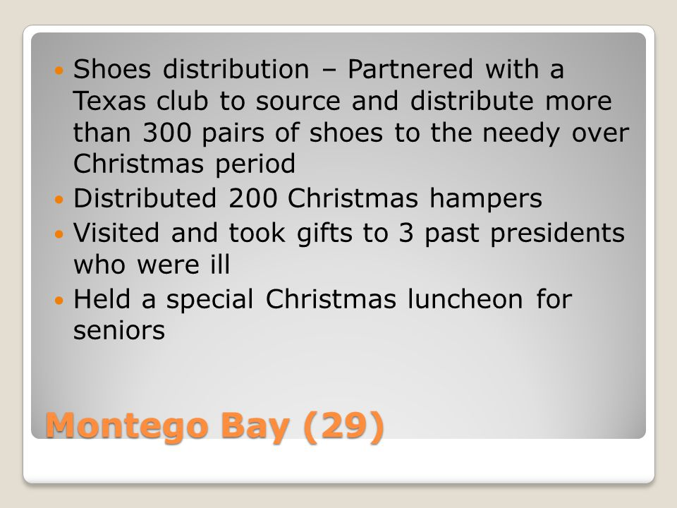 Montego Bay (29) Shoes distribution – Partnered with a Texas club to source and distribute more than 300 pairs of shoes to the needy over Christmas pe