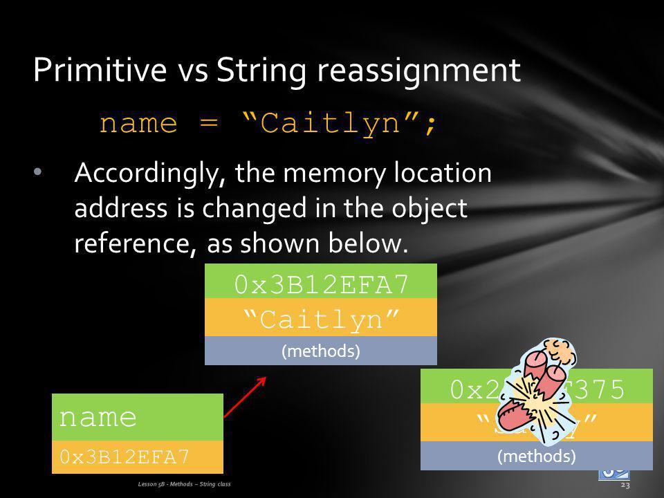 name = Caitlyn; Accordingly, the memory location address is changed in the object reference, as shown below.