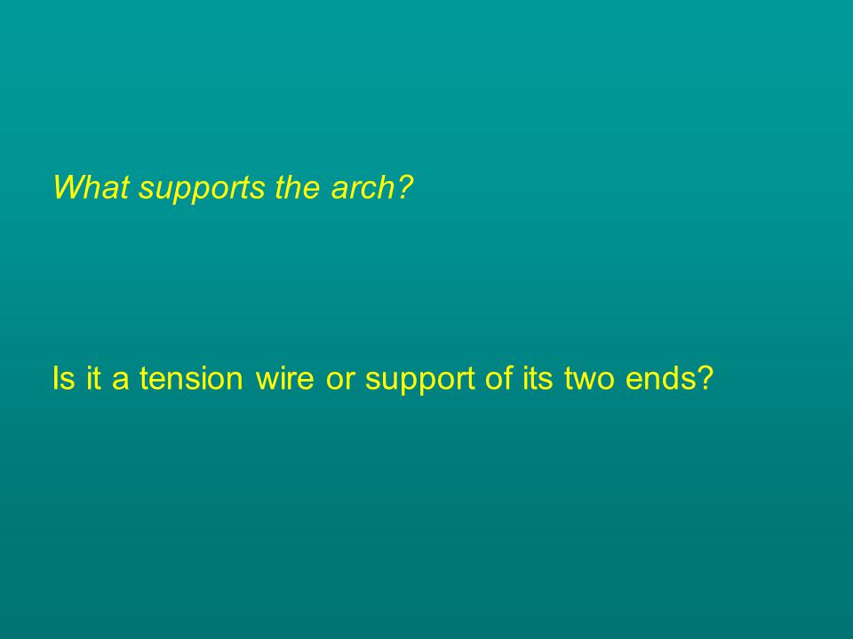 What supports the arch? Is it a tension wire or support of its two ends?