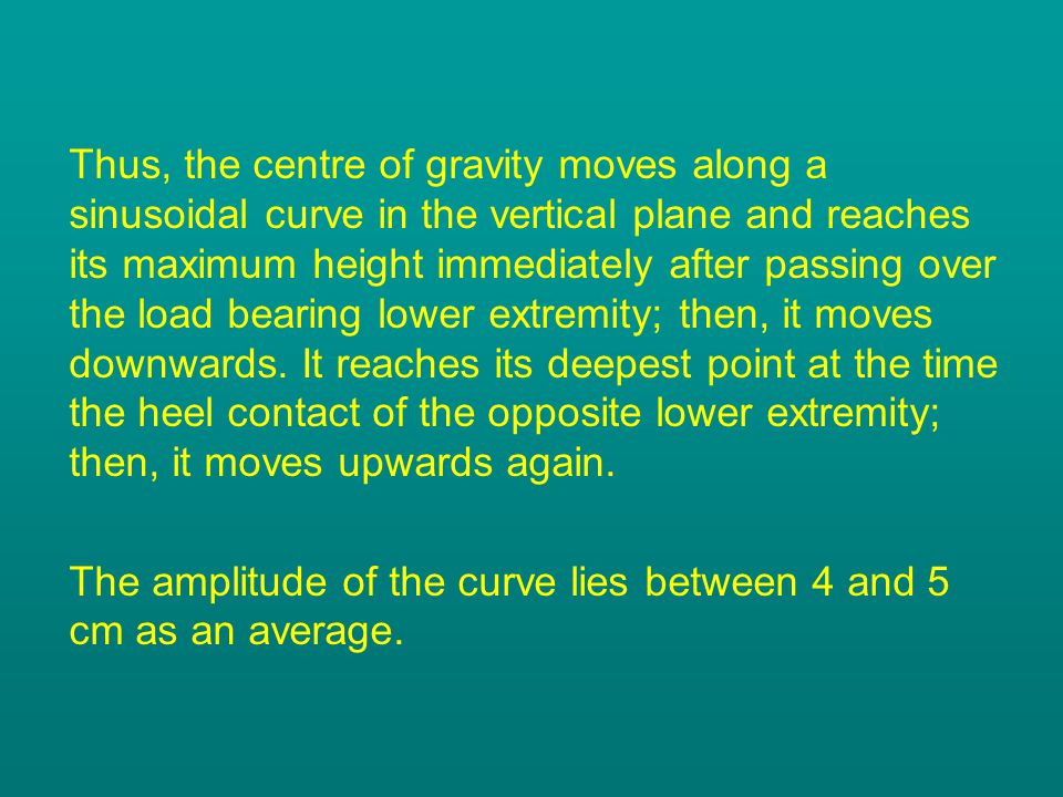 Thus, the centre of gravity moves along a sinusoidal curve in the vertical plane and reaches its maximum height immediately after passing over the load bearing lower extremity; then, it moves downwards.