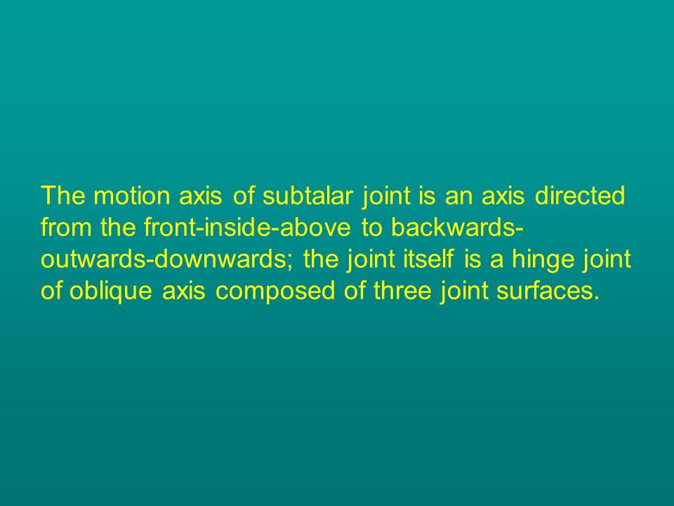 The motion axis of subtalar joint is an axis directed from the front-inside-above to backwards- outwards-downwards; the joint itself is a hinge joint of oblique axis composed of three joint surfaces.