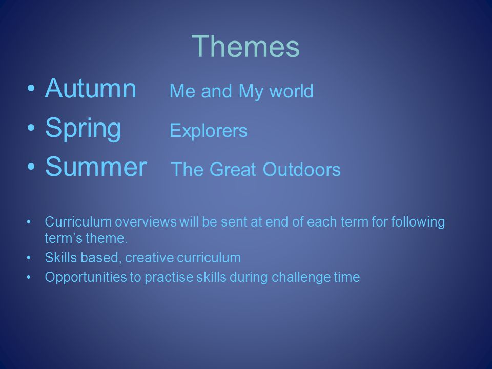 Themes Autumn Me and My world Spring Explorers Summer The Great Outdoors Curriculum overviews will be sent at end of each term for following terms theme.