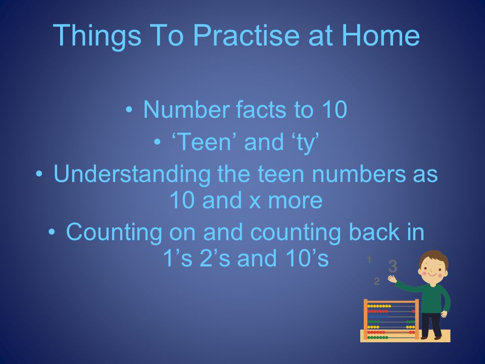 Things To Practise at Home Number facts to 10 Teen and ty Understanding the teen numbers as 10 and x more Counting on and counting back in 1s 2s and 10s