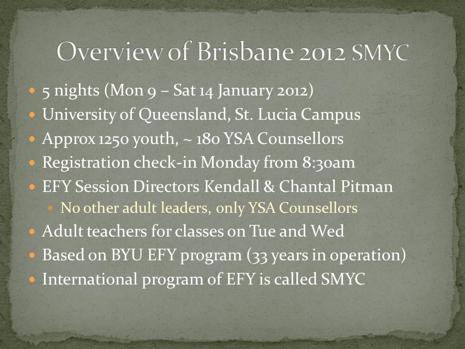 5 nights (Mon 9 – Sat 14 January 2012) University of Queensland, St.
