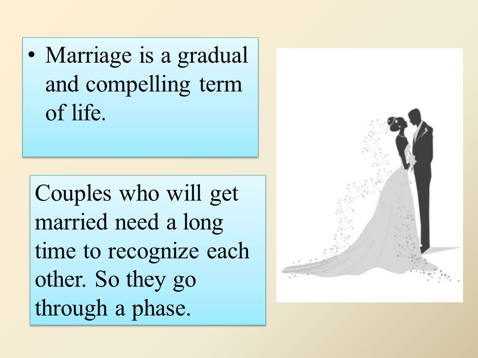 Marriage is a gradual and compelling term of life. Couples who will get married need a long time to recognize each other. So they go through a phase.