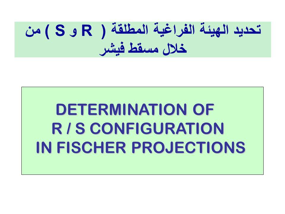 DETERMINATION OF DETERMINATION OF R / S CONFIGURATION R / S CONFIGURATION IN FISCHER PROJECTIONS تحديد الهيئة الفراغية المطلقة ( R و S ) من خلال مسقط