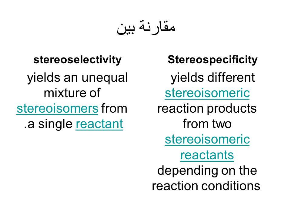 مقارنة بين stereoselectivity yields an unequal mixture of stereoisomers from a single reactant. stereoisomersreactant Stereospecificity yields differe