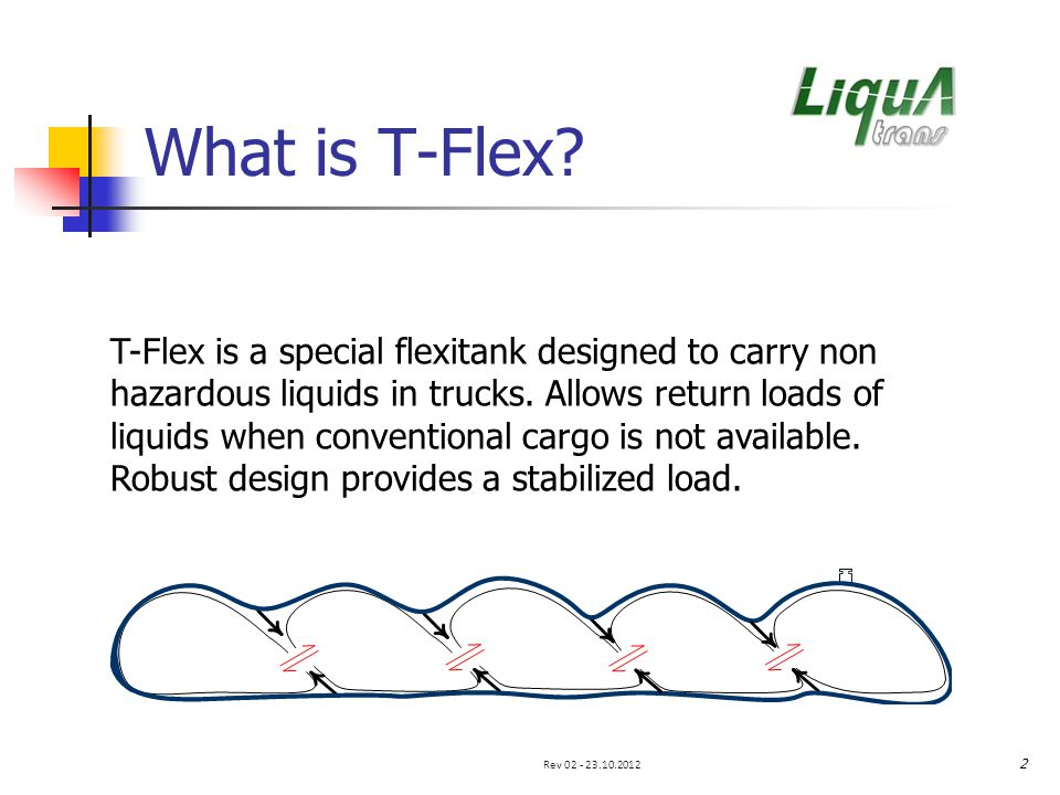What is T-Flex.T-Flex is a special flexitank designed to carry non hazardous liquids in trucks.