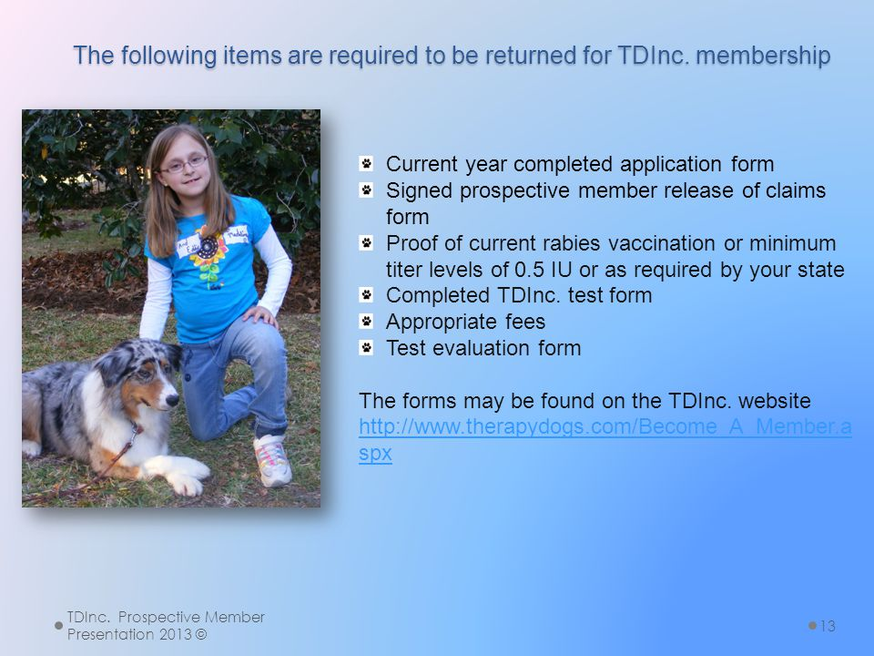 The following items are required to be returned for TDInc. membership TDInc. Prospective Member Presentation 2013 © 13 Current year completed applicat