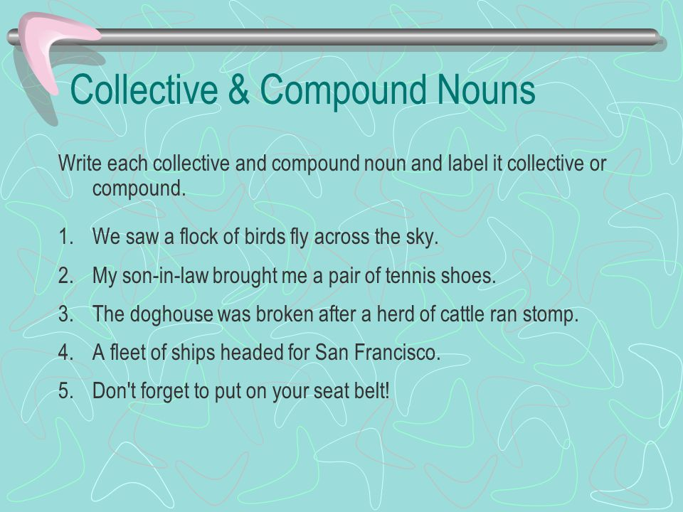 Collective & Compound Nouns Write each collective and compound noun and label it collective or compound. 1.We saw a flock of birds fly across the sky.