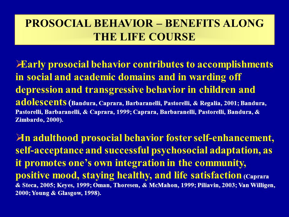 AFFECTIVE REGULATORY AND SOCIAL, EMPATHIC SELF-EFFICACY BELIEFS: beliefs to be able to manage affects, relations with others and to be empathetic with others feelings SELF-TRASCENDENCE: values emphasizing acceptance of others and concern for their wellness AGREEABLENESS: dispositions to be cooperative and collaborative with others MAJOR DETERMINANTS OF PROSOCIAL AGENCY