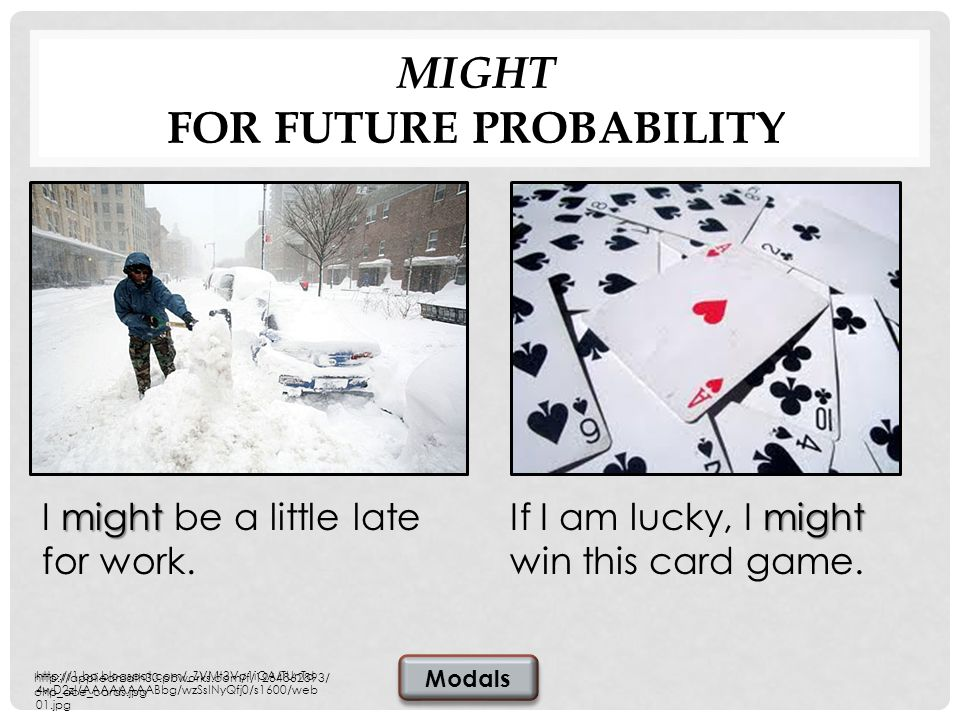 MIGHT FOR FUTURE PROBABILITY might If I am lucky, I might win this card game.