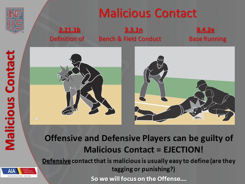 New Rules 2013 Malicious Contact Malicious Contact 2.21.1b 3.3.1n8.4.2e Definition of Bench & Field Conduct Base Running Offensive and Defensive Players can be guilty of Malicious Contact = EJECTION.