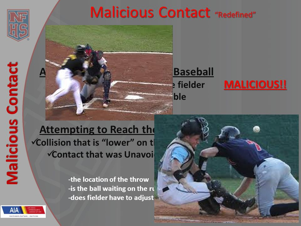 New Rules 2013 Malicious Contact Malicious Contact Redefined Lets focus our picture…. Attempting to Dislodge the Baseball Collision that is high on th