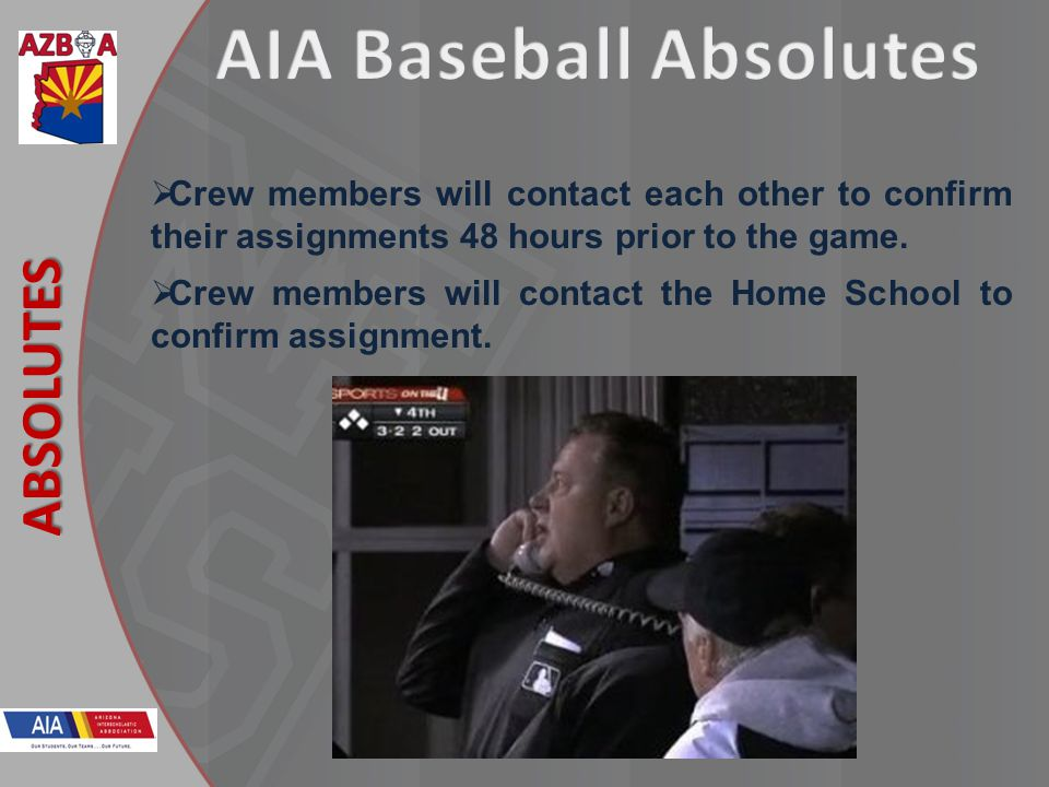 New Rules 2013 ABSOLUTES Crew members will contact each other to confirm their assignments 48 hours prior to the game.
