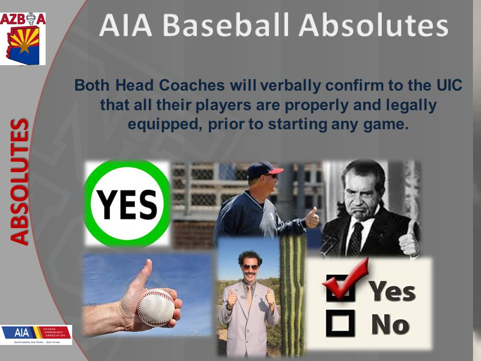 New Rules 2013 ABSOLUTES Both Head Coaches will verbally confirm to the UIC that all their players are properly and legally equipped, prior to startin