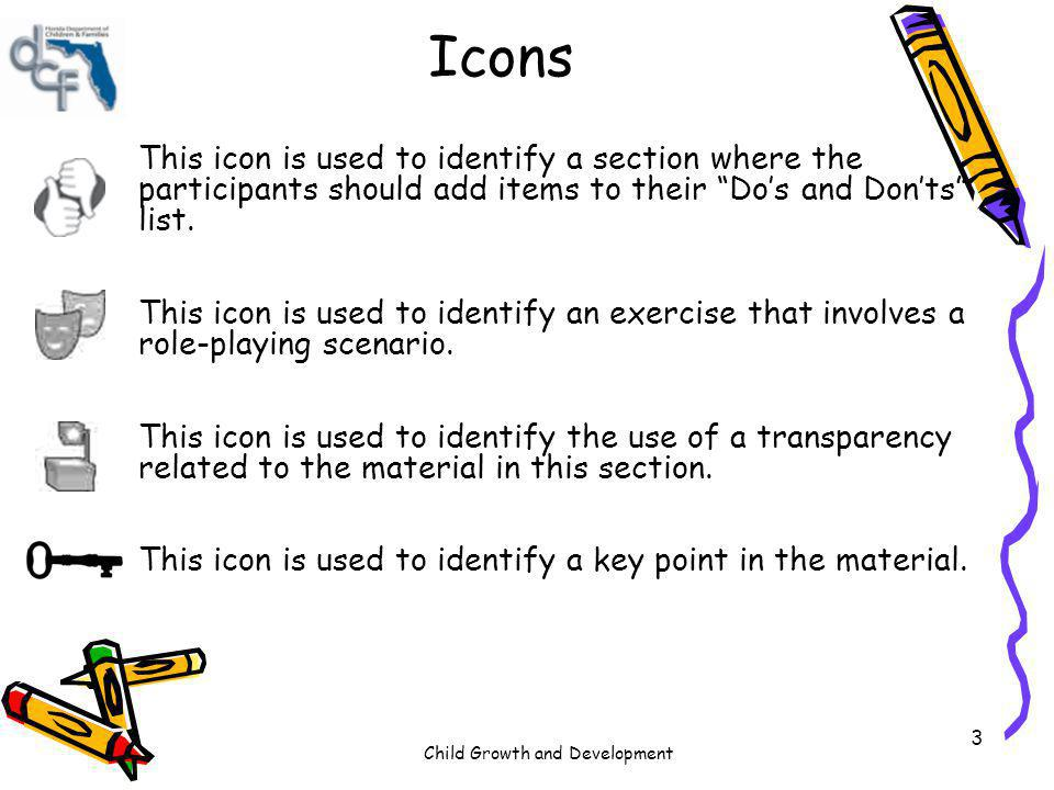Child Growth and Development 3 Icons This icon is used to identify a section where the participants should add items to their Dos and Donts list. This