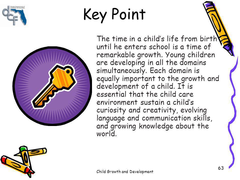 Child Growth and Development 63 Key Point The time in a childs life from birth until he enters school is a time of remarkable growth. Young children a