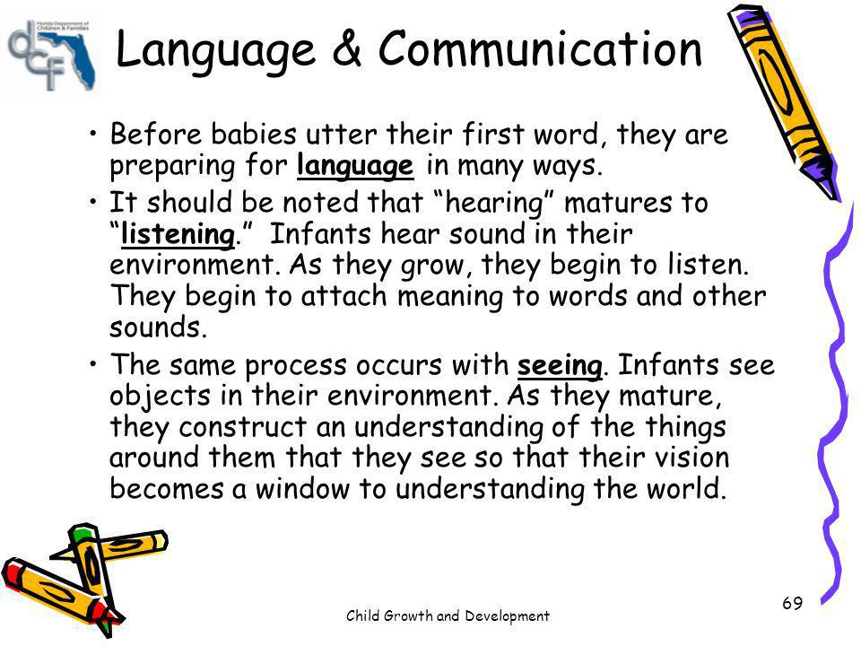 Child Growth and Development 69 Language & Communication Before babies utter their first word, they are preparing for language in many ways. It should