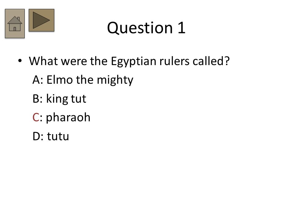 Question 1 What were the Egyptian rulers called A: Elmo the mighty B: king tut C: pharaoh D: tutu