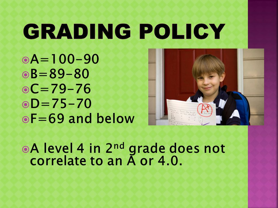 A=100-90 B=89-80 C=79-76 D=75-70 F=69 and below A level 4 in 2 nd grade does not correlate to an A or 4.0.
