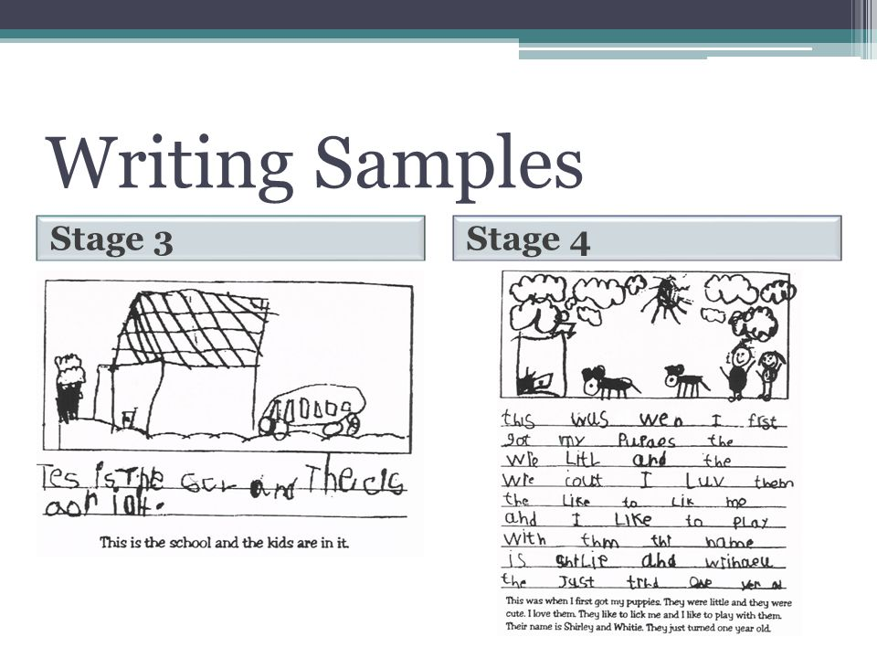 Writing Samples Stage 3 Stage 4