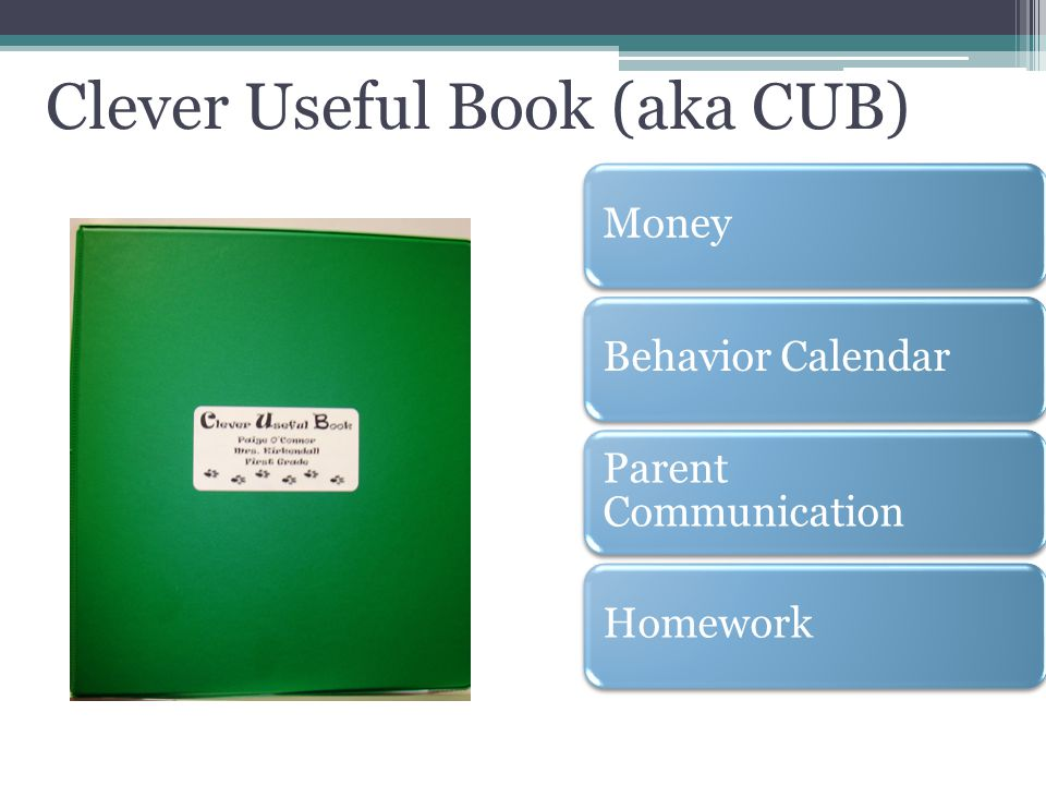 Clever Useful Book (aka CUB) MoneyBehavior Calendar Parent Communication Homework