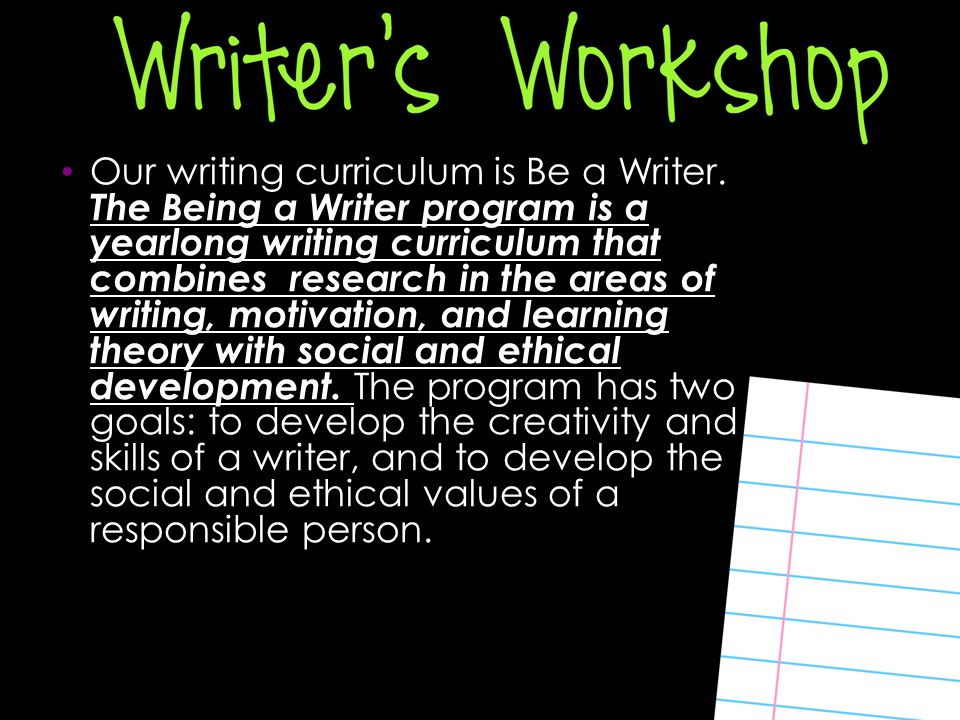 Our writing curriculum is Be a Writer.