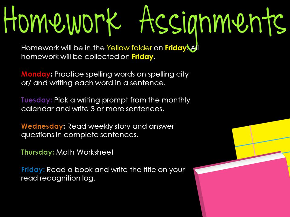 Homework will be in the Yellow folder on Friday. All homework will be collected on Friday.
