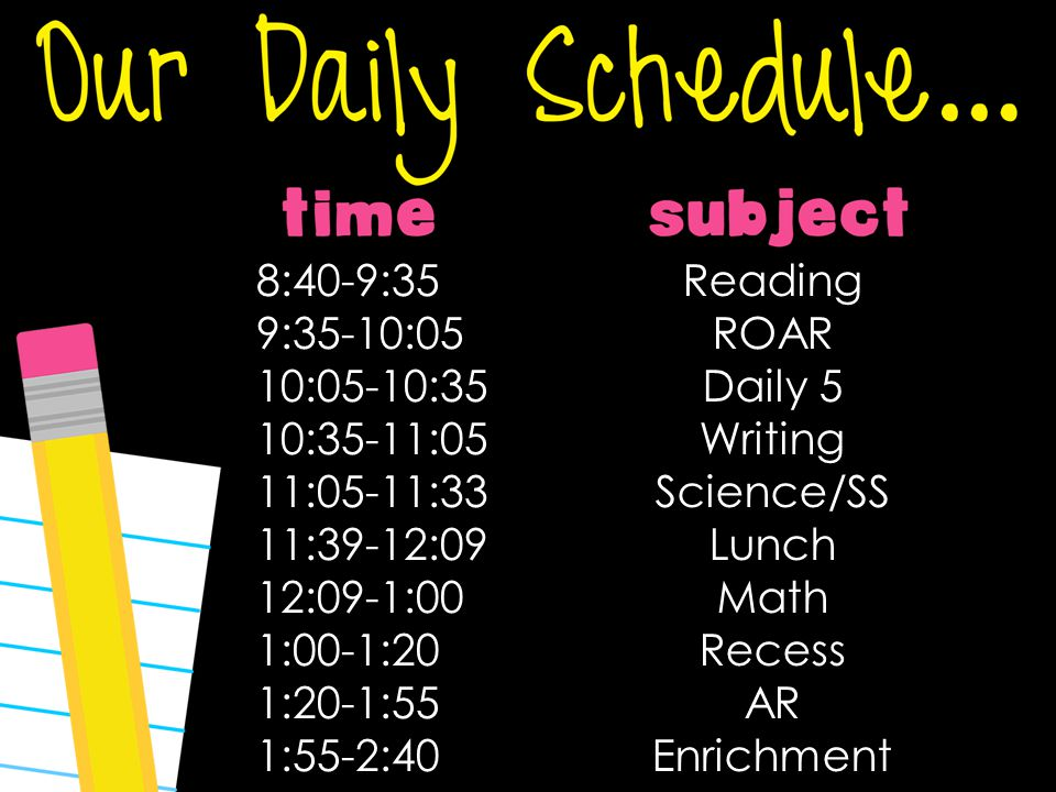Reading ROAR Daily 5 Writing Science/SS Lunch Math Recess AR Enrichment 8:40-9:35 9:35-10:05 10:05-10:35 10:35-11:05 11:05-11:33 11:39-12:09 12:09-1:00 1:00-1:20 1:20-1:55 1:55-2:40