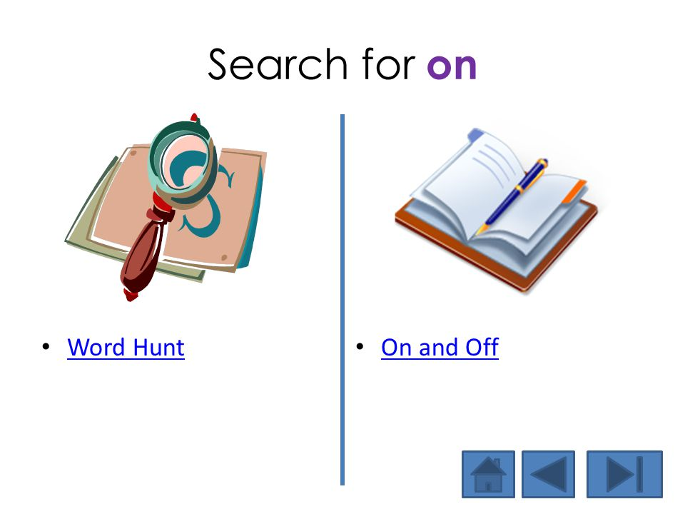 Search for on Word Hunt On and Off