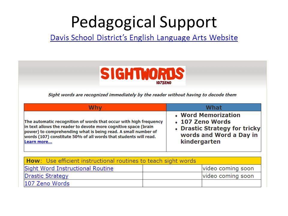 Pedagogical Support Davis School Districts English Language Arts Website Davis School Districts English Language Arts Website