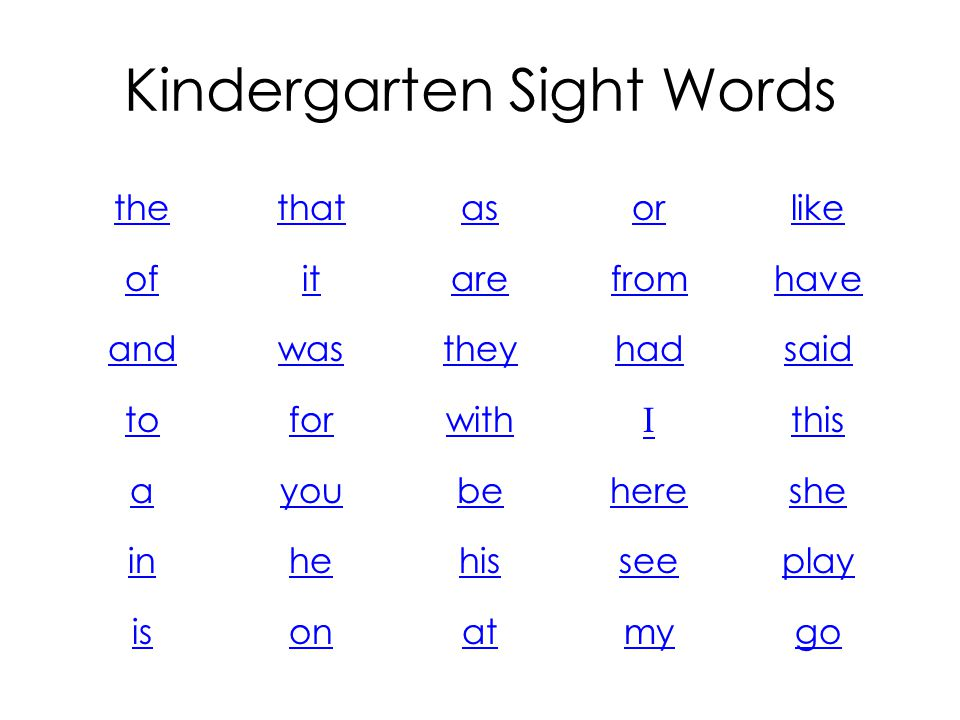 Kindergarten Sight Words the of and to a in is that it was for you he on as are they with be his at or from had I here see my like have said this she
