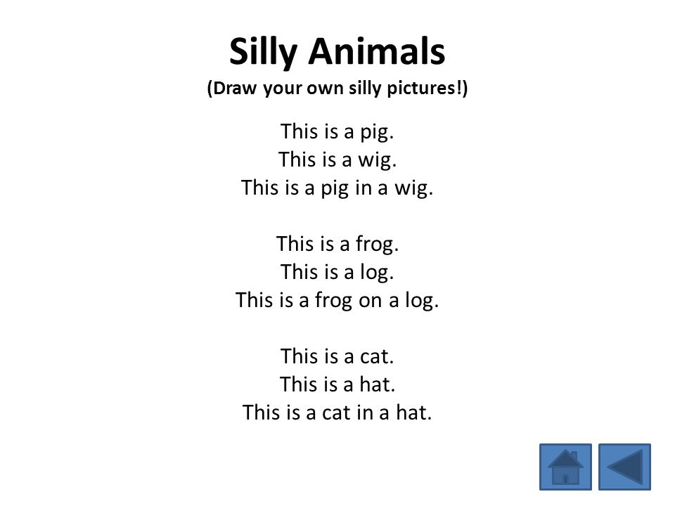 Silly Animals (Draw your own silly pictures!) This is a pig. This is a wig. This is a pig in a wig. This is a frog. This is a log. This is a frog on a
