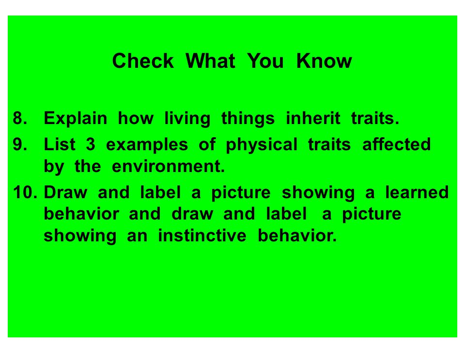 Check What You Know 8.Explain how living things inherit traits. 9.List 3 examples of physical traits affected by the environment. 10.Draw and label a
