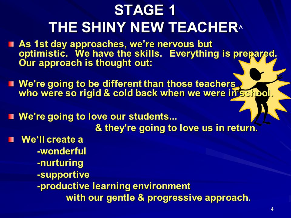 4 STAGE 1 THE SHINY NEW TEACHER ^ As 1st day approaches, were nervous but optimistic.
