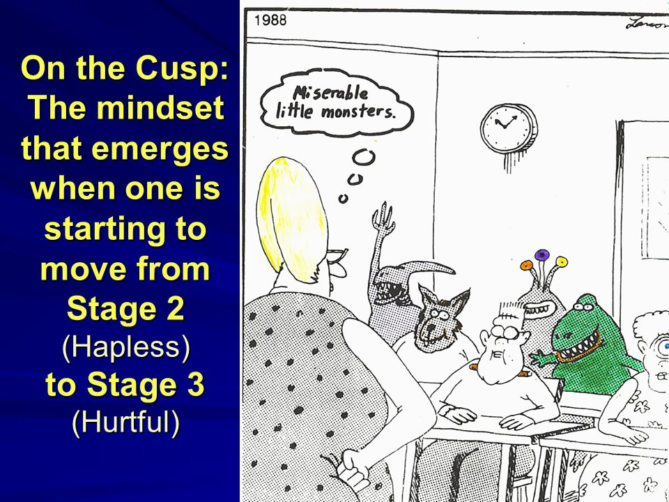 9 On the Cusp: The mindset that emerges when one is starting to move from Stage 2 (Hapless) to Stage 3 (Hurtful)