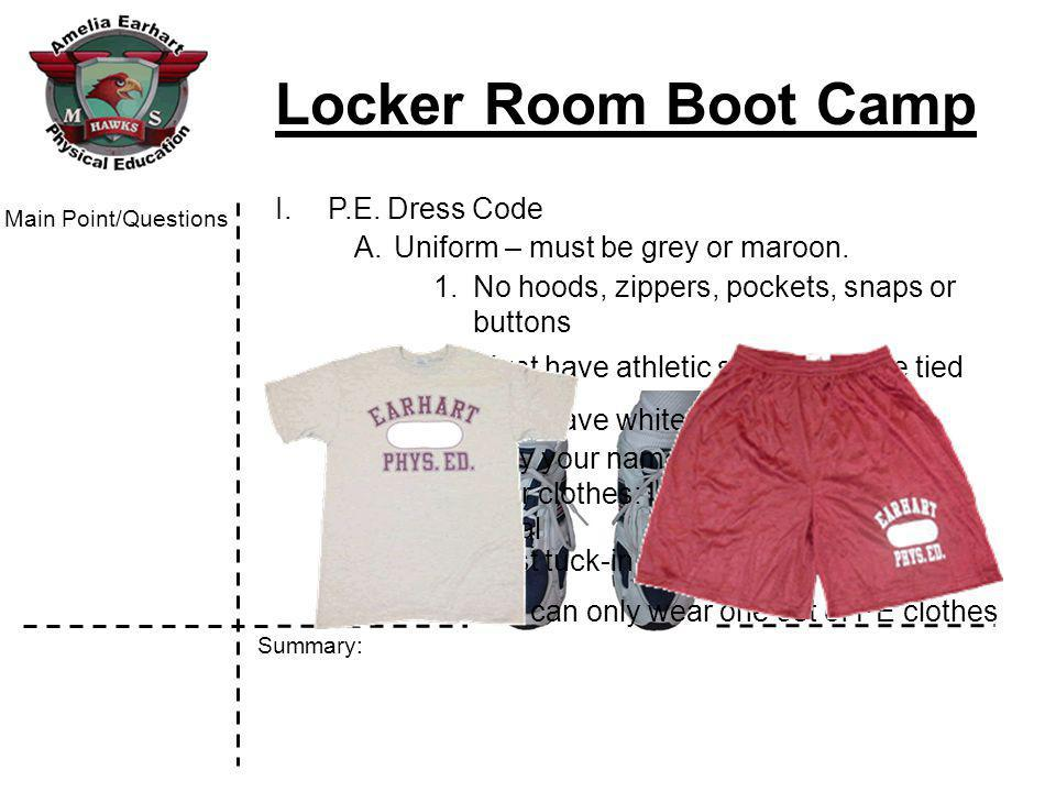 Locker Room Boot Camp Summary: Main Point/Questions V.How to open a combination lock A.Video
