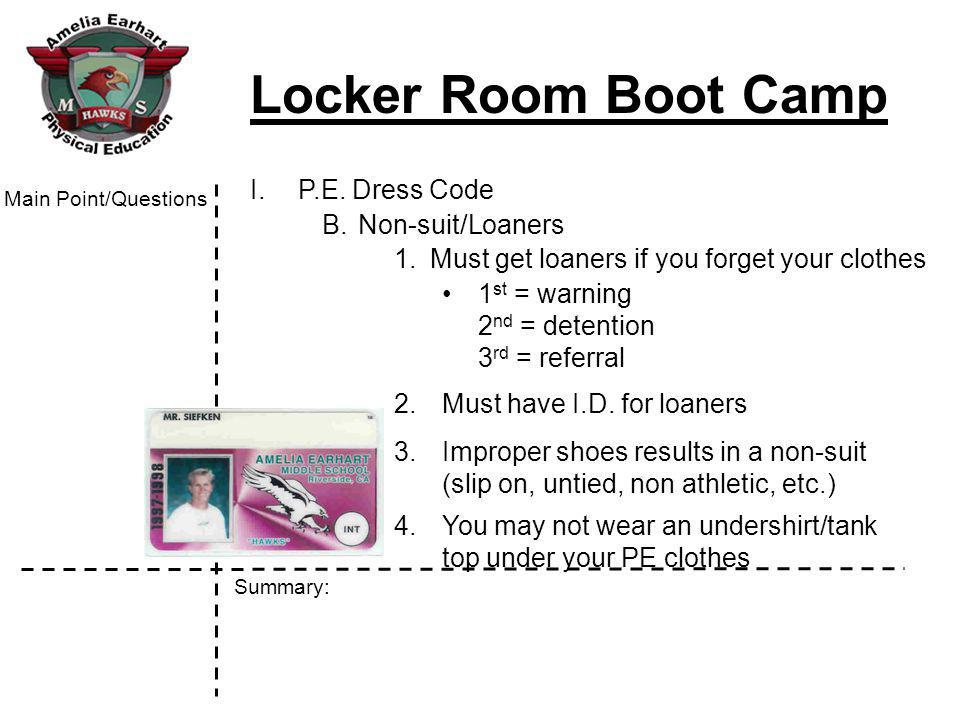 Locker Room Boot Camp Summary: Main Point/Questions V.Study for Boot Camp test on Thursday & Friday A.Study Aids 1.Your Cornell notes 2.www.hawkspe.com (see a PE teachers page)www.hawkspe.com B.Homework 1.Write two study questions for each page 2.Write one summary
