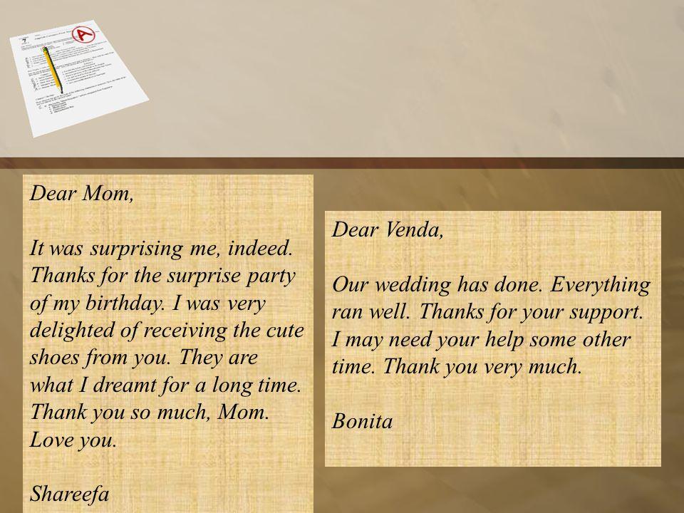 Dear Venda, Our wedding has done. Everything ran well.