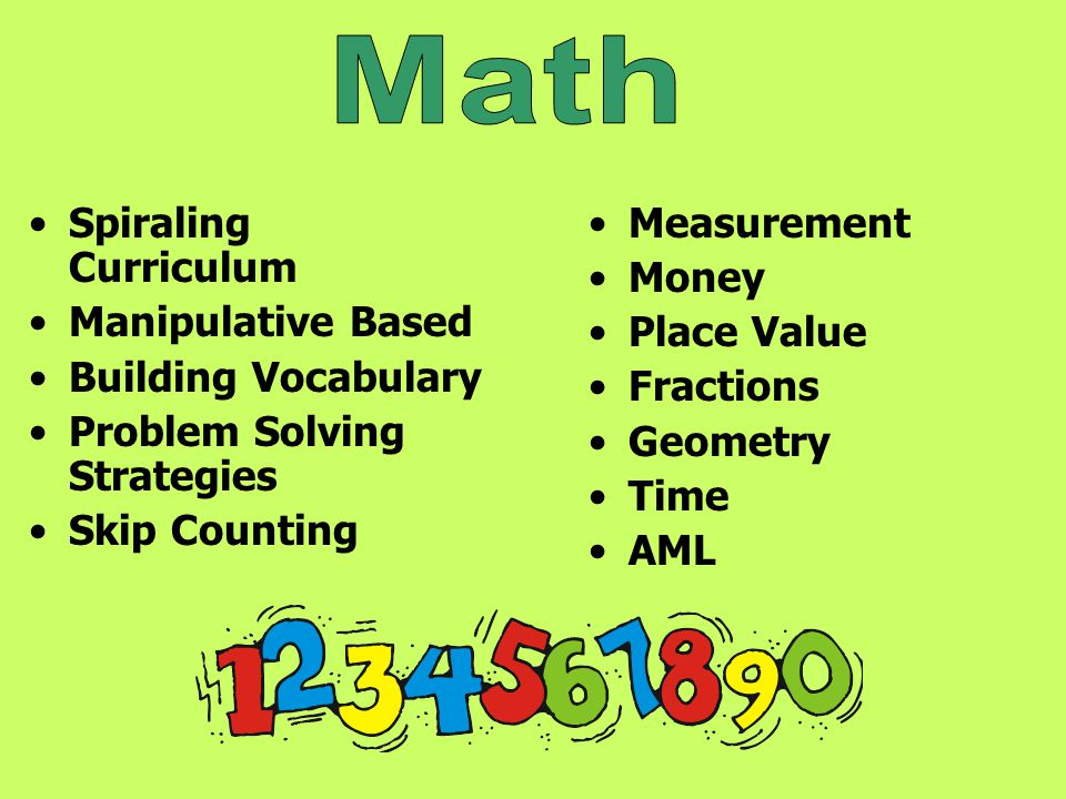 Spiraling Curriculum Manipulative Based Building Vocabulary Problem Solving Strategies Skip Counting Measurement Money Place Value Fractions Geometry
