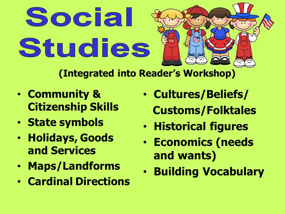 (Integrated into Readers Workshop) Community & Citizenship Skills State symbols Holidays, Goods and Services Maps/Landforms Cardinal Directions Cultures/Beliefs/ Customs/Folktales Historical figures Economics (needs and wants) Building Vocabulary